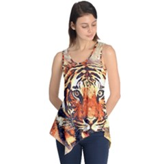 Tiger Portrait Art Abstract Sleeveless Tunic