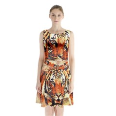 Tiger Portrait Art Abstract Sleeveless Waist Tie Chiffon Dress