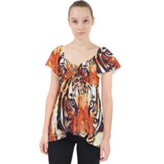 Tiger Portrait Art Abstract Lace Front Dolly Top