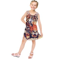 Tiger Portrait Art Abstract Kids  Tunic Dress