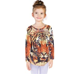 Tiger Portrait Art Abstract Kids  Long Sleeve Tee