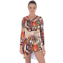Tiger Portrait Art Abstract Asymmetric Cut Out Shift Dress