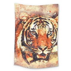 Tiger Portrait Art Abstract Large Tapestry