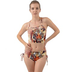 Tiger Portrait Art Abstract Mini Tank Bikini Set