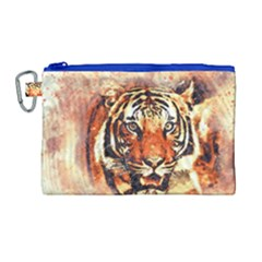 Tiger Portrait Art Abstract Canvas Cosmetic Bag (large)