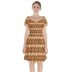 Basket Fibers Basket Texture Braid Short Sleeve Bardot Dress