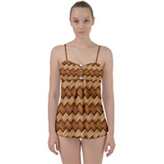 Basket Fibers Basket Texture Braid Babydoll Tankini Set