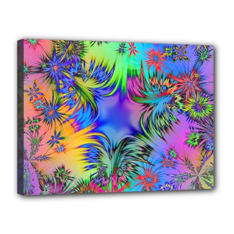 Star Abstract Colorful Fireworks Canvas 16  X 12