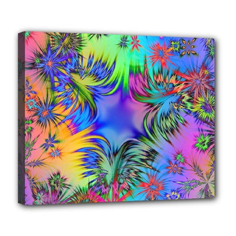 Star Abstract Colorful Fireworks Deluxe Canvas 24  X 20