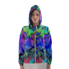 Star Abstract Colorful Fireworks Hooded Wind Breaker (women)