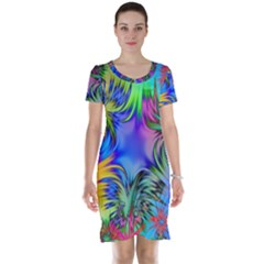 Star Abstract Colorful Fireworks Short Sleeve Nightdress