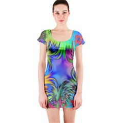 Star Abstract Colorful Fireworks Short Sleeve Bodycon Dress