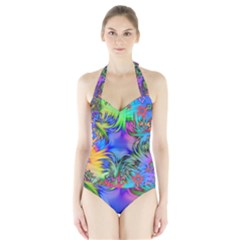 Star Abstract Colorful Fireworks Halter Swimsuit
