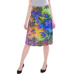Star Abstract Colorful Fireworks Midi Beach Skirt