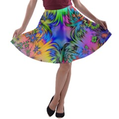 Star Abstract Colorful Fireworks A Line Skater Skirt