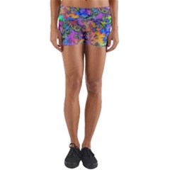 Star Abstract Colorful Fireworks Yoga Shorts