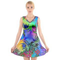 Star Abstract Colorful Fireworks V Neck Sleeveless Skater Dress