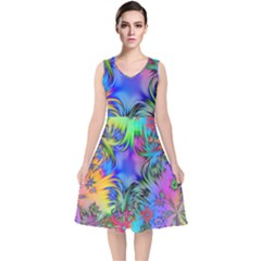 Star Abstract Colorful Fireworks V Neck Midi Sleeveless Dress