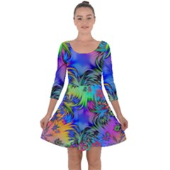 Star Abstract Colorful Fireworks Quarter Sleeve Skater Dress