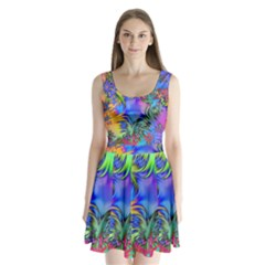 Star Abstract Colorful Fireworks Split Back Mini Dress