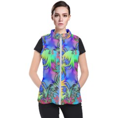 Star Abstract Colorful Fireworks Women s Puffer Vest