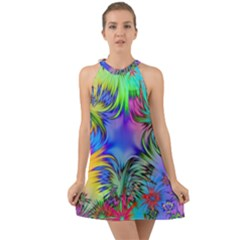 Star Abstract Colorful Fireworks Halter Tie Back Chiffon Dress