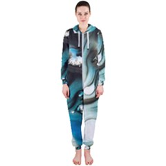 Abstract Painting Background Modern Hooded Jumpsuit (ladies)