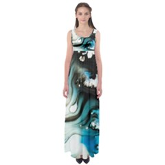Abstract Painting Background Modern Empire Waist Maxi Dress