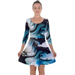 Abstract Painting Background Modern Quarter Sleeve Skater Dress