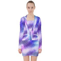 Background Art Abstract Watercolor V Neck Bodycon Long Sleeve Dress
