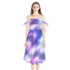 Background Art Abstract Watercolor Shoulder Tie Bardot Midi Dress