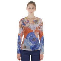 Texture Fabric Textile Detail V Neck Long Sleeve Top