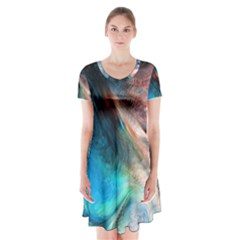 Background Art Abstract Watercolor Short Sleeve V Neck Flare Dress