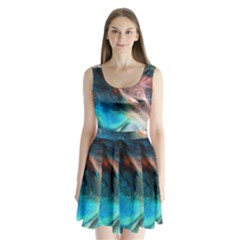 Background Art Abstract Watercolor Split Back Mini Dress