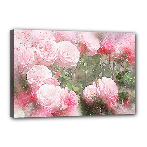 Flowers Roses Art Abstract Nature Canvas 18  X 12