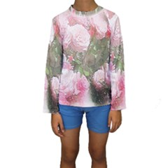 Flowers Roses Art Abstract Nature Kids  Long Sleeve Swimwear