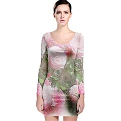 Flowers Roses Art Abstract Nature Long Sleeve Bodycon Dress