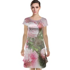 Flowers Roses Art Abstract Nature Cap Sleeve Nightdress