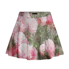 Flowers Roses Art Abstract Nature Mini Flare Skirt