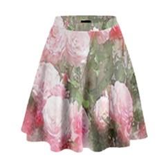 Flowers Roses Art Abstract Nature High Waist Skirt
