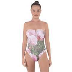 Flowers Roses Art Abstract Nature Tie Back One Piece Swimsuit