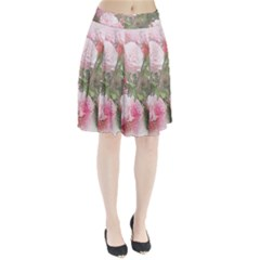 Flowers Roses Art Abstract Nature Pleated Skirt