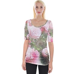 Flowers Roses Art Abstract Nature Wide Neckline Tee