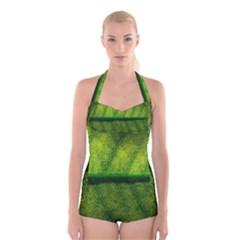 Leaf Nature Green The Leaves Boyleg Halter Swimsuit