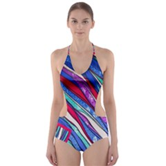 Texture Pattern Fabric Natural Cut Out One Piece Swimsuit
