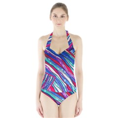 Texture Pattern Fabric Natural Halter Swimsuit