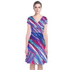 Texture Pattern Fabric Natural Short Sleeve Front Wrap Dress