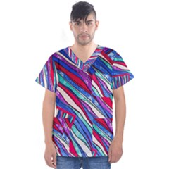 Texture Pattern Fabric Natural Men s V Neck Scrub Top