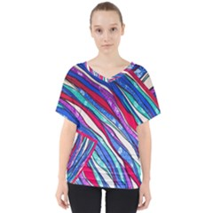 Texture Pattern Fabric Natural V Neck Dolman Drape Top
