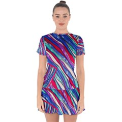 Texture Pattern Fabric Natural Drop Hem Mini Chiffon Dress